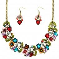 Flower Necklace Earring Set