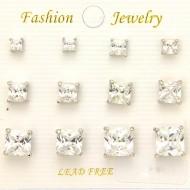 6 Sets Cubic Zirconia Earring