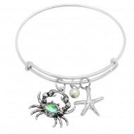 Sea Crab  Abalone Bracelet