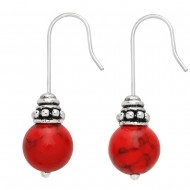Red-Turquoise Stone Earring