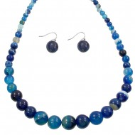 Blue Agate Necklace Set