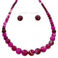 Fuchsia Agate Necklace Set