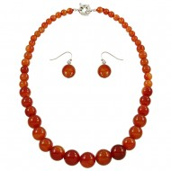 Red Agate Necklace Set