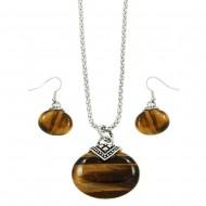 Tiger-Eye Necklace Set