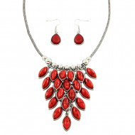 Coral Stone Necklace Set